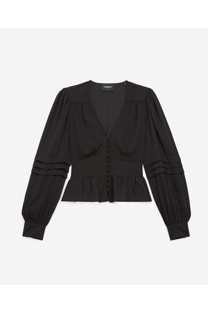 The Kooples Flowing buttoned black top with peplum