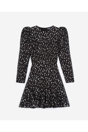 The Kooples Mulher Vestidos - Short black dress with silver polka dots