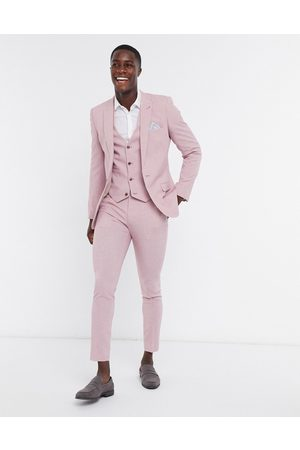 ASOS Wedding super skinny suit waistcoat in rose cross hatch-Pink