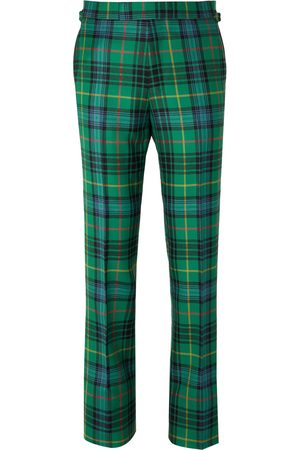 KINGSMAN Homem Calças Justas - Slim-Fit Checked Wool-Flannel Trousers