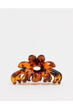 ASOS Hair clip claw in tortoiseshell flower design-Multi