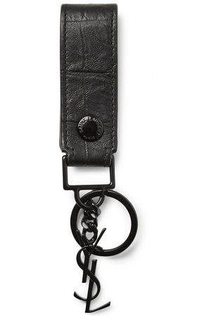 Saint Laurent Homem Anéis - Croc-Effect Leather Key Fob