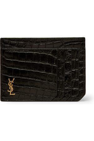 Saint Laurent Logo-Appliquéd Croc-Effect Leather Cardholder