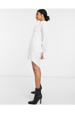River Island Ruched sleeve poplin mini shirt dress in white