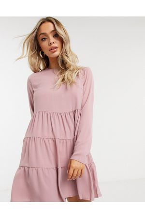Missguided Tiered smock dress with long sleeves in blush-Pink