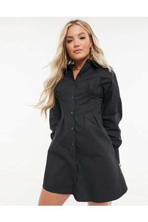 Missguided Shirt dress with corset detail in black