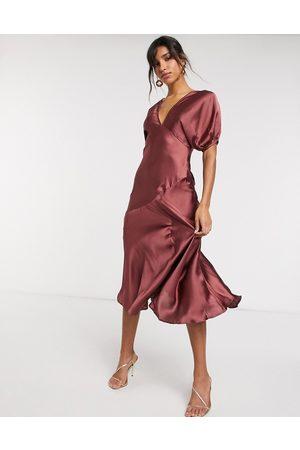 ASOS Puff sleeve satin maxi tea dress in mocha-Brown