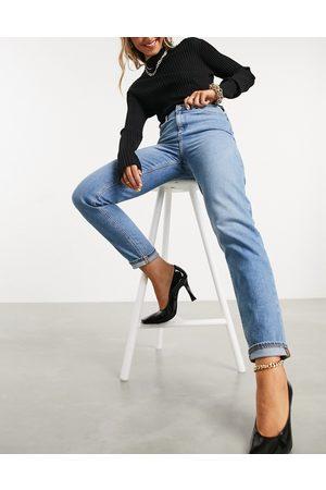ASOS High rise farleigh 'slim' mom jeans in stonewash-Blue