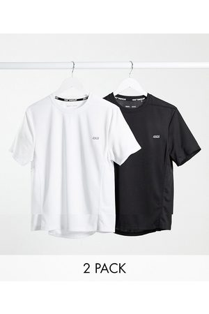 ASOS Homem T-shirts - Icon training t-shirt with quick dry 2 pack SAVE-Black