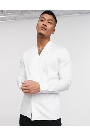 ASOS Slim fit sateen shirt with shawl collar in white
