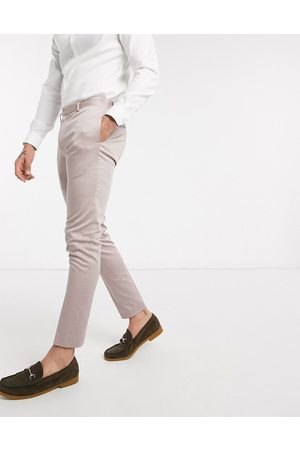 ASOS Wedding super skinny suit trousers in stretch cotton in mink-Purple