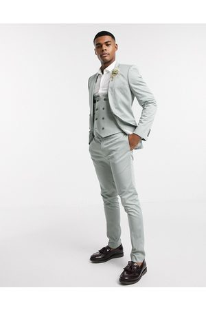 ASOS Wedding super skinny suit trousers in stretch cotton in dusky green