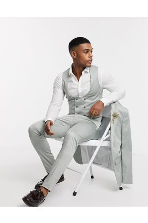 ASOS Wedding super skinny suit waistcoat in stretch cotton in dusky green