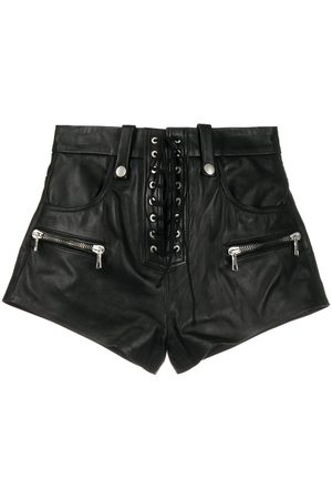 Unravel Project Lace-up zip-detail shorts