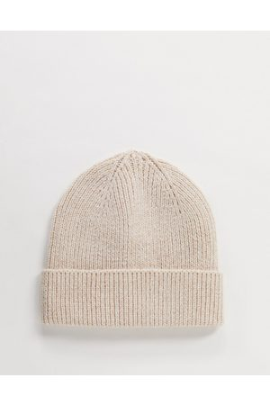 ASOS Fisherman rib beanie hat in recycled polyester in beige