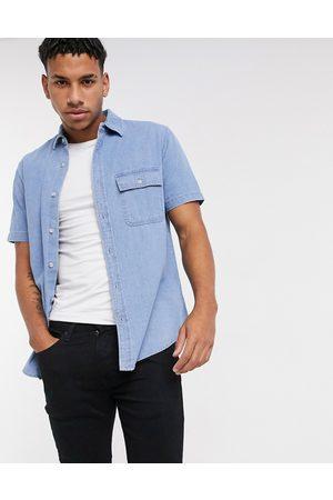Topman Short sleeve denim shirt in blue