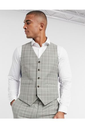 Harry Brown Slim fit check suit waistcoat-Blue
