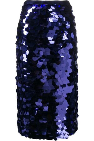Ami Sequin embroidered midi skirt