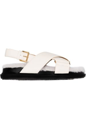 Marni Neutral Fussbett shearling sandals