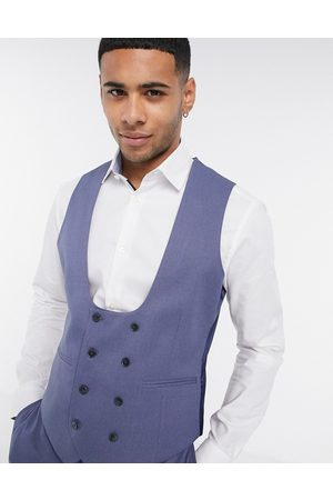 ASOS Wedding super skinny suit waistcoat with micro texture in mid blue