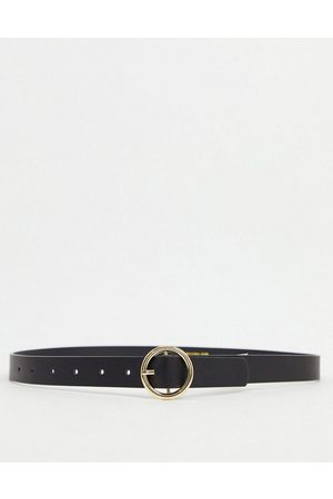 Pieces Senhora Cintos - Belt with gold circle buckle in black