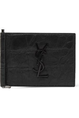 Saint Laurent Logo-Appliquéd Croc-Effect Leather Bifold Cardholder with Money Clip