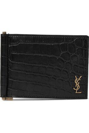 Saint Laurent Logo-Appliquéd Croc-Effect Leather Billfold Wallet with Money Clip