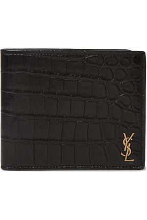 Saint Laurent Homem Bolsas & Carteiras - Logo-Appliquéd Croc-Effect Leather Billfold Wallet
