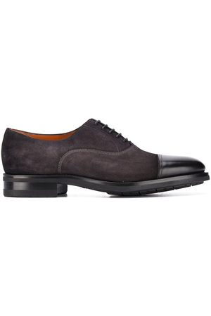 santoni Homem Oxford & Moccassins - Suede lace up shoes with contrast toe