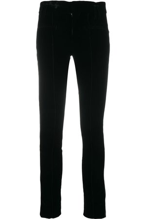 Haider Ackermann Velvet/leather contrast trousers