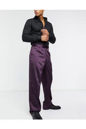 ASOS High waist wide leg smart trousers in sateen-Purple