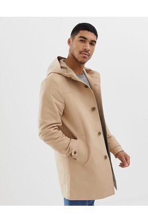 ASOS Shower resistant hooded trench coat in stone