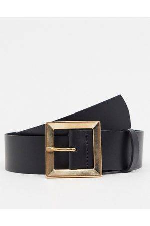 ASOS Leather bevelled square buckle hip and waist belt in black