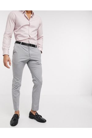 Selected Homem Calças Justas - Suit trouser with stretch in slim fit light grey