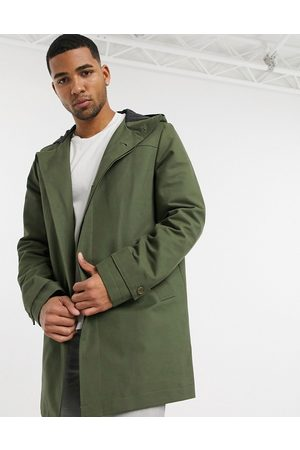 ASOS SHOWER RESISTANT HOODED TRENCH COAT IN GREEN