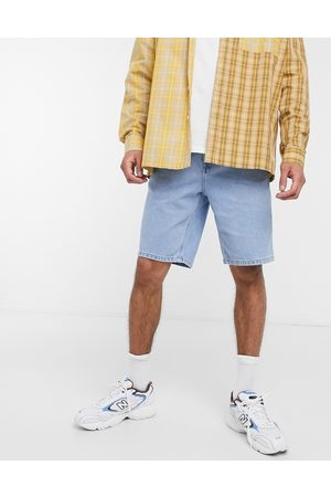 ASOS Homem Calções - Slim denim shorts in light stone wash blue