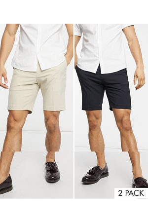 ASOS 2 pack slim smart shorts in stone and navy-Multi