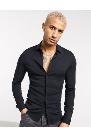 ASOS Muscle viscose shirt in black