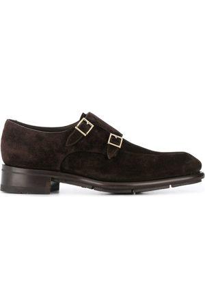 santoni Suede double-buckle shoes