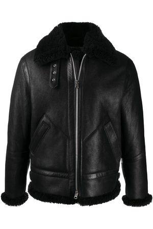 Acne Studios Homem Casacos de Pele - Shearling trim leather aviator jacket