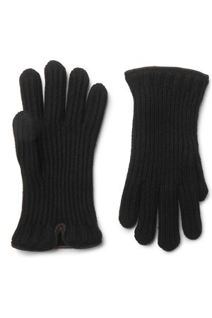 Loro Piana Homem Luvas - Leather-Trimmed Ribbed Cashmere Gloves