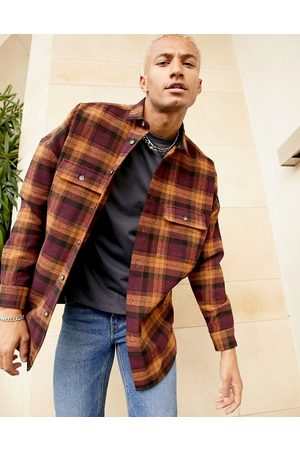 ASOS 90s oversized wool heavy check shirt in burgundy-Red