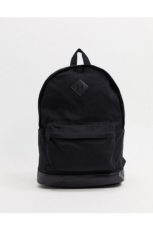 ASOS Backpack in black canvas and faux leather