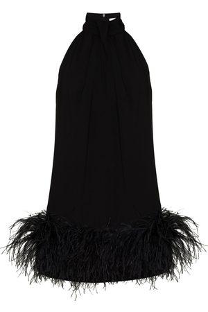 16Arlington Senhora Vestidos de Festa - Cynthia feather-trim mini dress