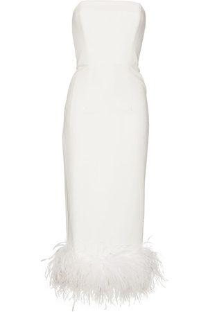 16Arlington Senhora Vestidos de Festa - Minelli feather-trim strapless midi dress