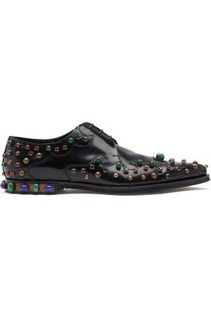 Dolce & Gabbana Homem Sapatos - Crystal-embellished Derby shoes