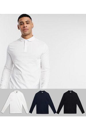 ASOS 3 pack organic long sleeve jersey polo-Multi
