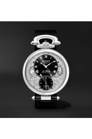 Bovet Homem Relógios - 19Thirty Fleurier Hand-Wound 42mm Stainless Steel and Croc-Effect Leather Watch, Ref. No. NTS0016