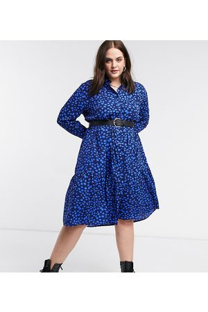 Wednesday's Girl Midi shirt dress with tiered skirt in tonal smudge spot-Navy