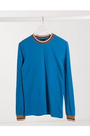 ASOS Muscle long sleeve t-shirt with tipping-Blue